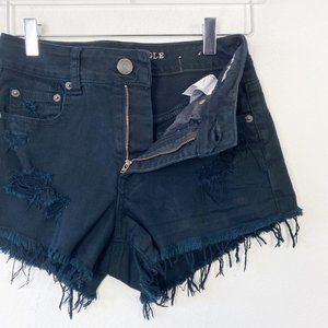 American Eagle Faded Blk High Rise Festival Shorts